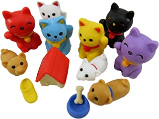 Dog Meets Cat Take-Apart Mini Erasers (Pack of 12)