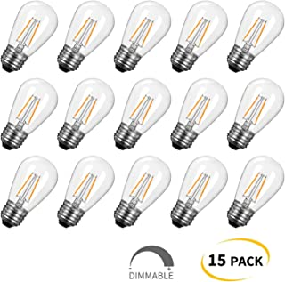 S14 LED Light Bulbs 15 Pack 1.5W (Equivalent to 11 W) Shatterproof Replacement Bulbs with E26 Medium Base, Warm LED Bulbs for Outdoor Patio Garden Vintage String Lights