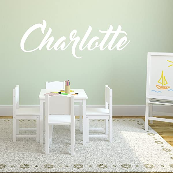 Fancy Cursive Single Personalized Custom Name Vinyl Wall Art Decal Sticker 28 W Girl Name Decal Girls Name Nursery Name Girls Name Decor Girls Bedroom Decor PLUS FREE 12 WHITE HELLO DOOR DECAL