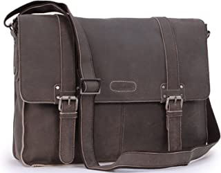 Ashwood Messenger Shoulder Bag - Laptop Bag with Padded Compartment - Business Office Work Bag - Genuine Leather - Calvin - Camden 8356 - Brown