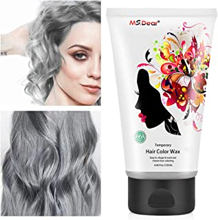 Instant Hair Wax 120g, Temporary Hair Color Dye Wax, Men Women Hair Pomades, Hair Styling Mud Fluffy Matte Best Salon Hair Clay for Party, Festival, Cosplay & Halloween - Silver Gray