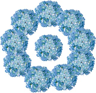 LUSHIDI Silk Hydrangea Heads with Stems Artificial Flowers Heads for Home Wedding Decor,Pack of 10 (Sky Blue)