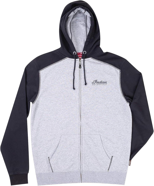 Indian Motorcycle Men's Full-Zip Hoodie Sweatshirt with Icon Logo, Black/Gray