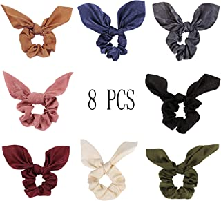 8 Pcs Bowknot Hair Scrunchies 2 in 1 Solid Colors Soft Scarf Hair Ties Bowknot Pattern Ponytail Holder for Women Girls Accessories (Pattern 3)