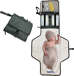 Portable Baby Diaper Changing Pad Mat, 44 x 22 Inches XL, Waterproof Travel Changing Pad for Baby - Best Baby Shower Gifts- Fold up,Foam Cushioned, Compact Infant/Toddler Car Accessory, Gray