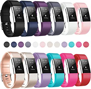 Humenn Bands Compatible for Fitbit Charge 2, Replacement Accessory Sport Band for Fitbit Charge 2 HR, 12-Pack