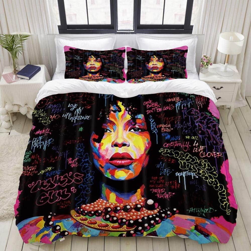 Funda nórdica, Afro Black Girl Acuarela Graffiti Mujeres afroamericanas Chica Hip Pop Art, Juego de Cama Ultra cómodo y liviano Conjuntos de Microfibra de Lujo