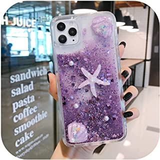 Dnhai Quicksandキラキラシリコーン電話カバーfor iPhone 8 6s 6 7 8Plus X XS XR XsMAX 11Pro 11 11ProMAX SE 3Dヒトデキラキラケース-Purple-for iPhone SE2020