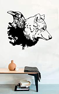 Raven and Wolf Vinyl Wall Decals Bird Crow Stickers Murals Vinyl Decor MK6241