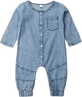 Toddler Infant Baby Boy Girl Clothes Denim Romper One Piece Long Sleeve Jumpsuit Button Down Bodysuit Outfits