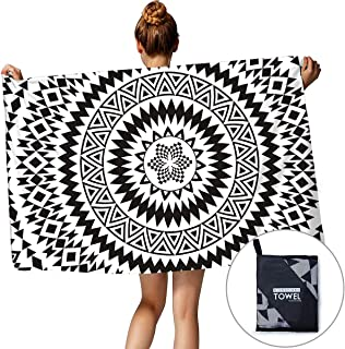 """TUONROAD Microfiber Beach Towel Sports Travel Bath Towel for Yoga Camping Surfing Swimming Gym Super Compact Absorbent Quick Dry Blanket with Zipper Bag, 60"""" x 30"""""""