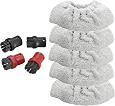 SPARES2GO Hand Tool Terry Cloth Covers + 4 Brush Nozzles for Karcher SC1 Premium Steam Cleaner