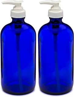 Sally's Organics 16oz Blue Glass Container with White Soap Dispenser ~ 2 Pack