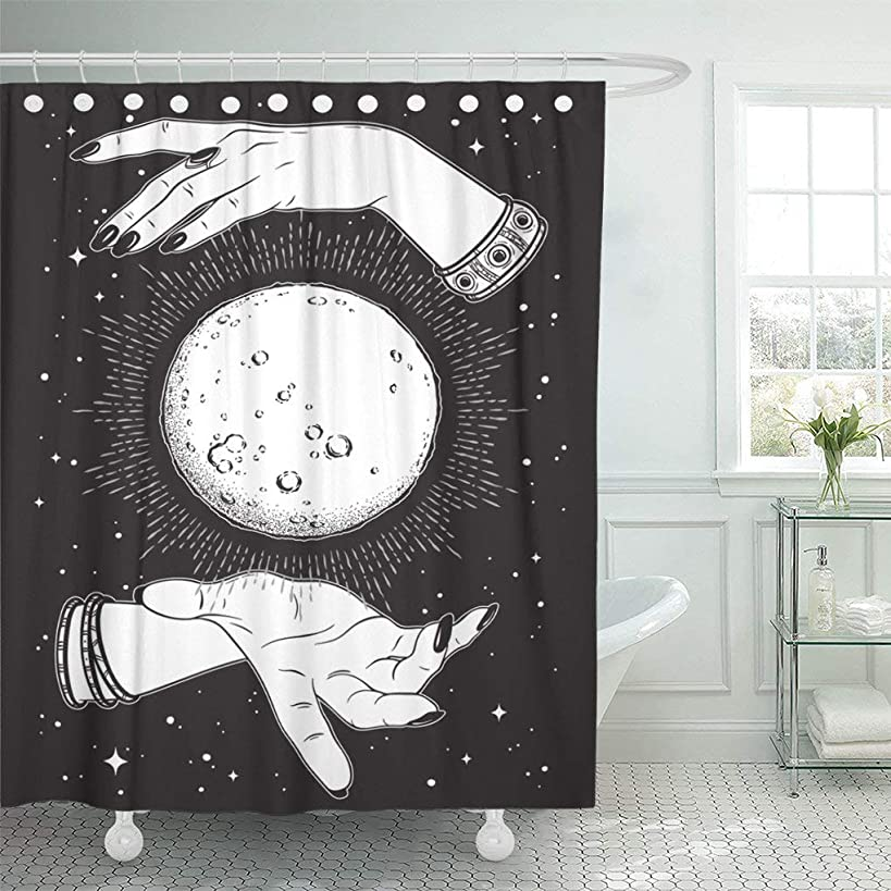 Emvency Waterproof Fabric Shower Curtain Hooks Full Moon Rays of Light in Hands Fortune Teller Line and Dot Work Boho Chic Tattoo Altar Veil 60