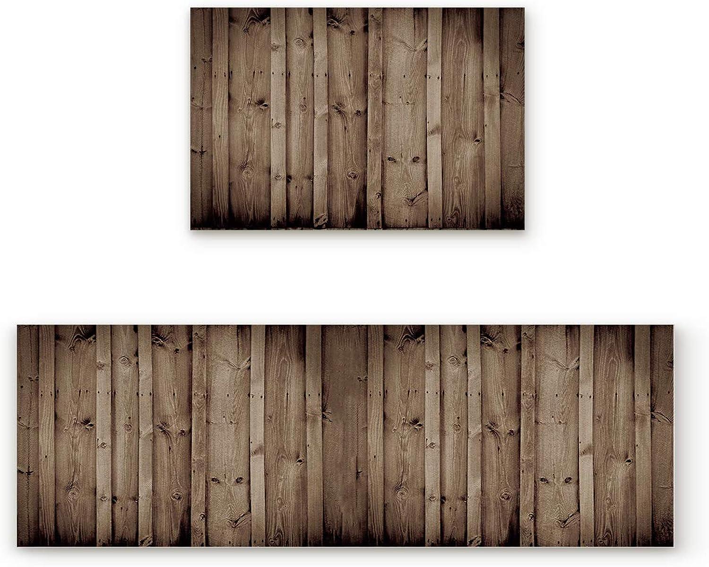 2 Piece Non-Slip Kitchen Mat Doormat Runner Rug Set Thin Low Pile Indoor Area Rugs Vintage Rustic Knotty Wood 19.7 x31.5 +19.7 x47.2