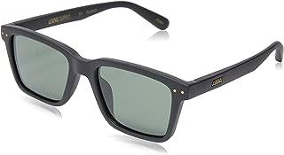 Local Supply Men's COAST Polarized Sunglasses - Dark Green Tint Lens, Matte Black Frames