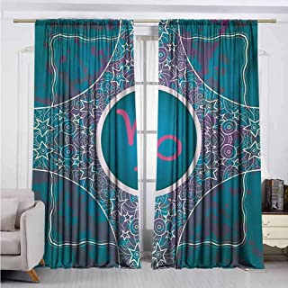 Alston Bertha Zodiac Capricorn 99% Blackout Curtains Doodle Style Stars and Flowers on a Grunge Backdrop with Paint Stains for Bedroom Kindergarten Living Room W52 x L63 Inch Multicolor