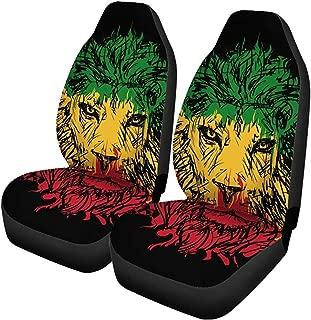 Juego de 2 Fundas de asiento de coche Green Reggae Rasta Lion Head ...