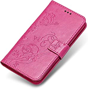 Galaxy 2016 Case  The Grafu  Leather Wallet Case Embossed Design Stand Function Cover with Credit Card Slot for Samsung Galaxy 2016  Rose Red