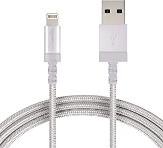 AmazonBasics Nylon Braided Lightning to USB A Cable - Apple MFi Certified iPhone Charger - Silver, 3-Foot