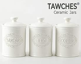 white tea and coffee storage jars