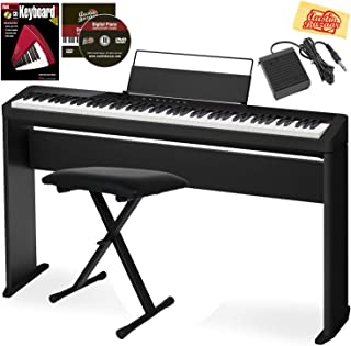 Casio Privia PX-S1000 Digital Piano - Black Bundle with CS-68 Stand, Adjustable Bench, Sustain Pedal, Instructional Book, Online Lessons, Austin Bazaar Instructional DVD, and Polishing Cloth