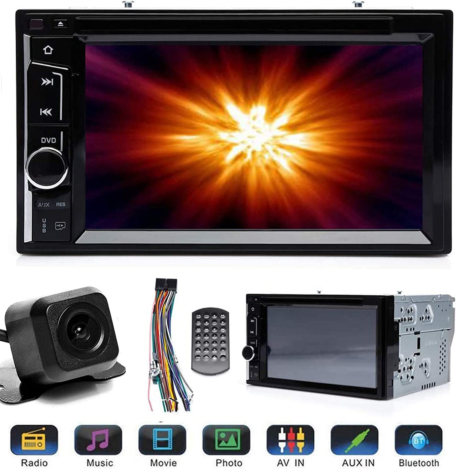 2 Din Car Stereo DVD Touchscreen for Cam 20 Backup Max Raleigh Mall 63% OFF with Chrysler