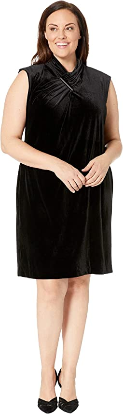 Plus Size Extended Sleeve Velvet Dress