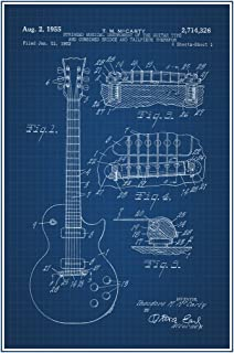 Electric Guitar 1955 Official Patent Blueprint Cool Wall Decor Art Print Poster 12x18