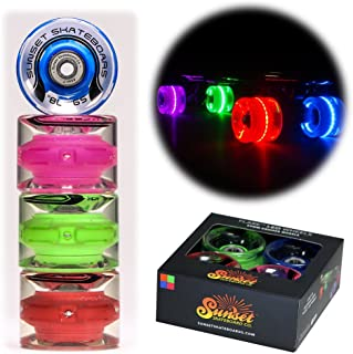 Sunset Skateboards Hippy 59mm Cruiser LED Light-Up Wheels Set with ABEC-7 Carbon Steel Bearings (4-Pack)