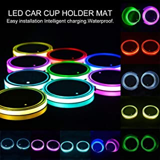 Lipctine Universal LED Car Cup Holder Lights Mats Pad Colorful RGB Drink Coaster Accessories Interior Decoration Atmosphere Compatible for BMW Jeep Benz VW Audi Ford Chevrolet Dodge Honda Toyota