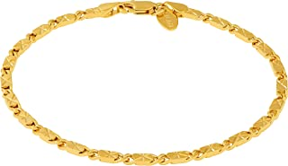 Ankle Bracelet [ 24k Gold Plated Diamond Cut Star Flat Link Chain ] Durable Anklets for Women Men and Teen Girls - Foot Chains with Free Lifetime Replacement Guarantee 9 10 11 inches