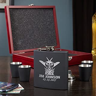 Air Force Glory Flask Gift Set by HomeWetBar - Great Gifts for Those Who Serve, Retirement Gift