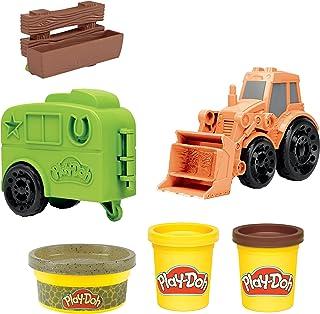 اسباب بازی کامیون تراکتور Farm-Doh Wheels Tractor برای کودکان 3 سال به بالا با قالب تریلر اسب و 3 قوطی ترکیب مدل غیر سمی
