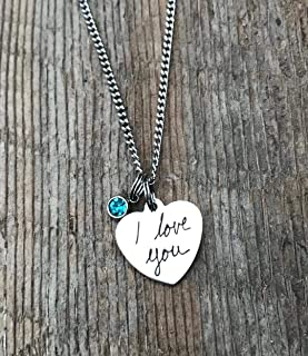 Handwriting necklace, handwriting jewelry, actual handwriting, signature necklace, signature gift, engraved jewelry, personalized, Mother's day, wife, girlfriend gift