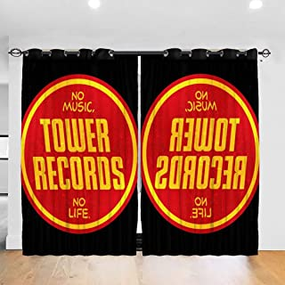 FDASLJ Customized Blackout Window Curtains Tower Records Logo Grommet Thermal Insulated Room Darkening Drape for Bedroom Living Room 52 X 72 Inch, 2 Panels