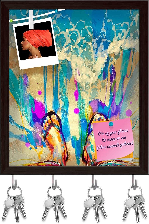 Artzfolio colorful Feet On Sandy Beach Key Holder Hooks   Notice Pin Board   Dark Brown Frame 16 X 19Inch