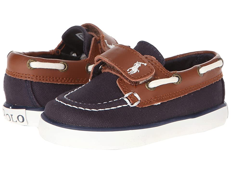Polo Ralph Lauren Kids Sander-CL EZ (Toddler) (Navy Canvas/Tan Leather) Boy