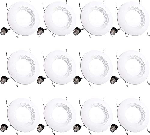 Bbounder Lighting 12 Pack 5/6 Inch LED Recessed Downlight, Baffle Trim, Dimmable, 12.5W=100W, 5000K Daylight, 950 LM,...
