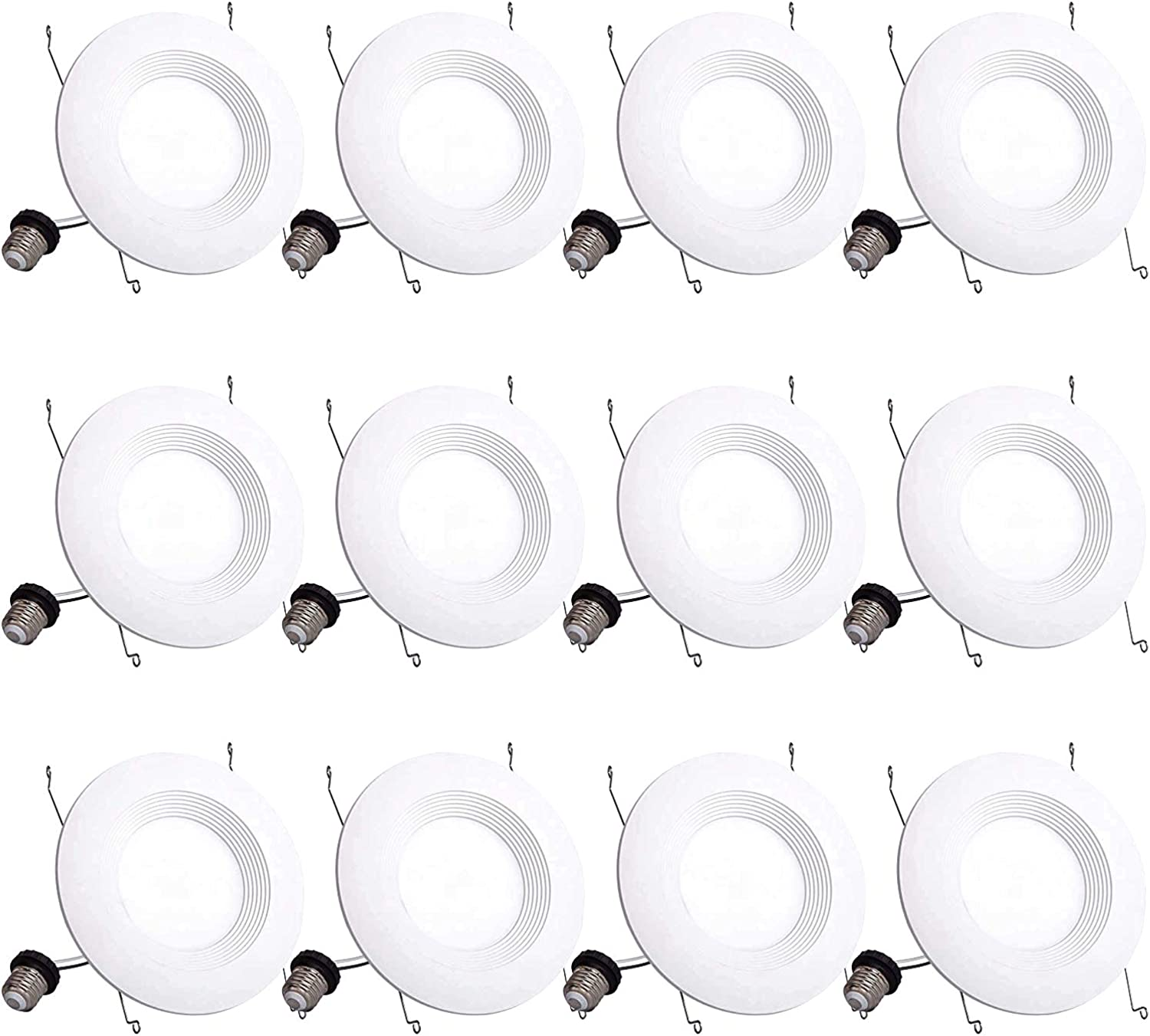 12 Pack 5 6 Inch 5000K Daylight Led Recessed Downlight 1000 LM Dimmable Retrofit Fit 13W (120W Equivalent) UL and Energy Star Certified Quick Easy Can Install Baffle Trim