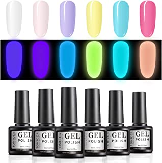 TOMICCA Glow In The Dark Luminous Gel Nail Polish Shimmer Set Soak Off UV LED 6 Colours (021)
