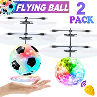 2 Pack Flying Ball Flying Toys for Kids, Mini Drone Light Up Toy Remote Control Toy Hand Controlled Flying Ball, Indoor Outdoor Game for Boy Girl Birthday Gift, Christmas Gift for Kid Teen Boy