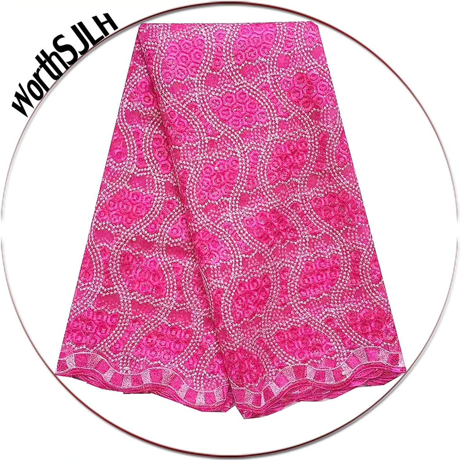 WorthSJLH Peach Green Lace Fabric 2019 African French Lace Fabric for Women Dress Guipure Tulle Lace Fabric LF881 (Fushia Pink)