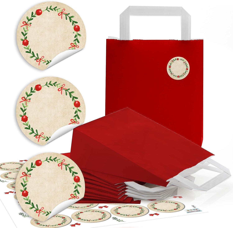 96 96 96 rote Papiertüte Geschenktasche Henkel mit Boden 18 x 8 x 22 cm  96 runde Aufkleber 4 cm Advent Kranz rot grün beschreibbar Geschenk Verpackung weihnachtlich bio blanko B07G893Y3X  | Leicht zu reinigende Oberfläche  514997