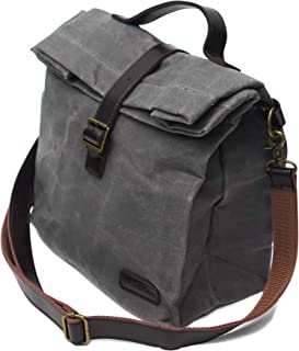 Insulated Waxed Canvas Lunch Bag (Grey), Adjustable Shoulder Strap and Handle, Water Resistant