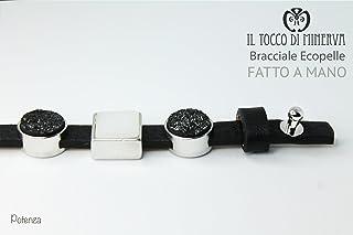 Bracciale unisex ecopelle nero con charms componibile Potenza Realizzato a Mano - HandMade - regali uomo - Prodotto Artigi...