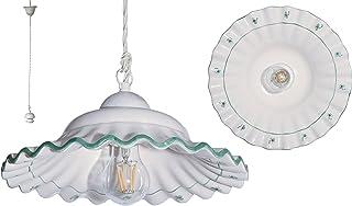 VANNI LAMPADARI - Lampada a Sospensione Piatto onda piegato Diametro 30 In Ceramica Decorata A Mano Disponibile In 5 Finiture