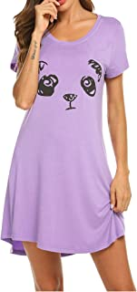 Hotouch Sleepwear Women's Nightgown Cotton Sleep Shirt Printed Short Sleeve Scoopneck Sleep Tee Nightshirt S-XXL