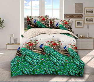 Fashion 3D Animal Tiger Cats Peacock Bedding Sets Bed Sheet Pillow Cases Duvet Cover (Size: Twin, Queen 3pcs) (Peacock Green, Queen)