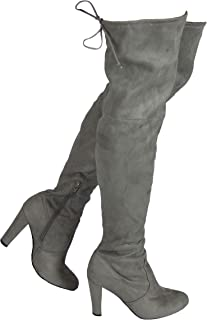 Womens Faux Suede Over The Knee Boots 8 M US, Gray Thigh High Stretch Boots Drawstring Shoe Stacked Heel Long Boot